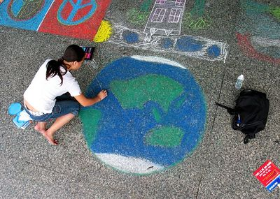 """Earth Girl"" CHALK 4PEACE,"" Sidewalk Chalk Contest,  Dr. MLK Jr. Memorial Library, DC, July 15, 2005"