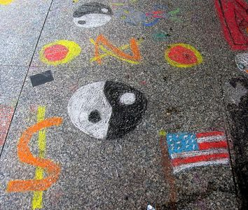 """Symbols,""  ""CHALK 4PEACE"" Sidewalk Chalk Contest,  Dr. MLK Jr. Memorial Library, DC, 7/15/05"