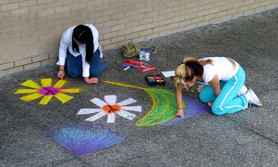 """Peace Flower Artists,"" Sidewalk Chalk Contest,  Dr. MLK Jr. Memorial Library, DC, July 15, 2005"