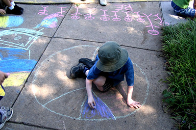 "CHALK4PEACE 2006 Arlington, VA Unitarian Universalist Church ""Peace is larger than us"" photo: Anne Bridgman"
