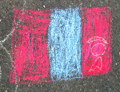 "CHALK4PEACE 2006 Arlington, VA Ashlawn Elementary School  This artist showed us his drawing  of the Flag of Mongolia and said, ""I want you to know that Mongolia  is represented in CHALK4PEACE."" photo: John Aaron"
