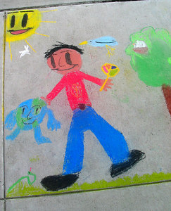 "CHALK4PEACE 2006 Arlington, VA Glebe Elementary School ""Cool Guy with Mr. Earth"" photo: John Aaron"