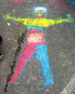 "CHALK4PEACE 2006 Arlington, VA Glebe Elementary School ""Electric Guy"" (Life size) photo: John Aaron"