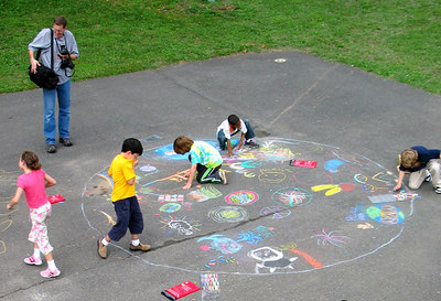 "CHALK4PEACE 2006 Arlington, VA Glebe Elementary School ""Outside of a small circle of friends..."" photo: John Aaron"