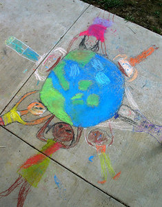 "CHALK4PEACE 2006 Arlington, VA Glebe Elementary School ""People of the Planet"" photo: John Aaron"