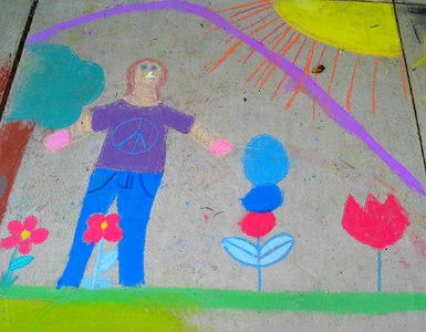 "CHALK4PEACE 2006 Arlington, VA Glebe Elementary School ""Life size peace person"" photo: John Aaron"