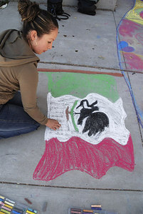 CHALK4PEACE 2006- Berkeley, CA Cragmont Elementary School Artist completes the flag of Mexico photo: Jerry Downs Photography