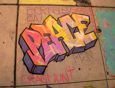 CHALK4PEACE 2006- Berkeley, CA Cragmont Elementary School  PEACE... photo: John Lionheart