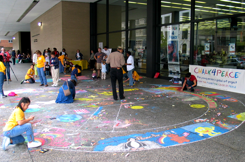 """CHALK4PEACE 2006 Washington, DC Dr. Martin Luther King, Jr. Memorial Library """"Peace broke out all over the plaza"""""""