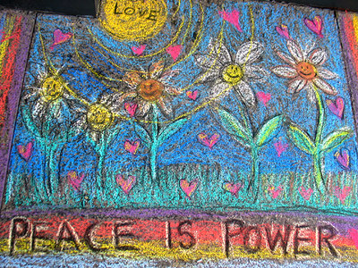 "CHALK4PEACE 2006 Washington, DC Dr. Martin Luther King, Jr. Memorial Library ""Peace Is Power"" Artist: Diane Kidd photo: John Aaron"