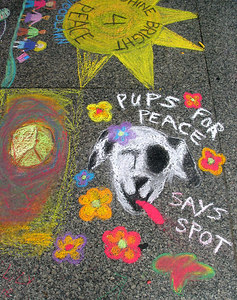 "CHALK4PEACE 2006 Washington, DC Dr. Martin Luther King, Jr. Memorial Library ""PUPS FOR PEACE SAYS SPOT"""