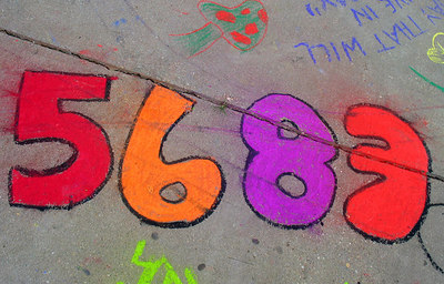 "ARLINGTON, VIRGINIA CHALK4PEACE 2006 9/15 ""5683- Text message 4 'Love' "" Washington- Lee High School photo: John Aaron"