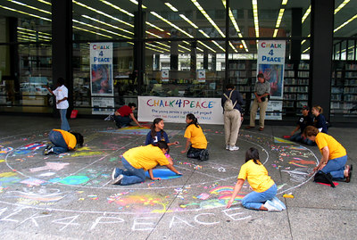 "WASHINGTON, DC CHALK4PEACE 2006 9/16 ""Woodlawn Artists Chalking Away"" Dr. Martin Luther King, Jr. Memorial Library organized by the DC Public Library System and CHALK4PEACE, N.A. 14 DC Libraries participated! photo: John Aaron"