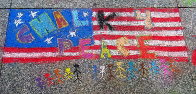 """""""CHALK 4PEACE"""" by one of the younger artists  at the """"CHALK 4PEACE"""" Sidewalk Chalk Contest, 2005 Dr. Martin Luther King Jr. Memorial Library, Washington, DC"""