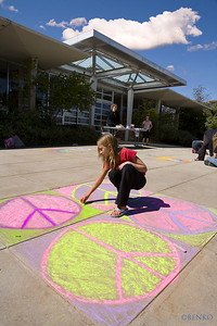 "BOULDER, COLORADO CHALK4PEACE 2006 9/17 ""Talented Artist making Chalk 4 Peace"" Boulder Public Library- ""CHALK WALK"" with support from the Boulder Arts Commission photo: Benko Photography"