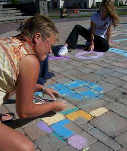 "CHALK4PEACE 2007 ""Mentor and Young Artist"" Centennial Park, Geneva, New York 9/15 photo: Chapin Traugott"