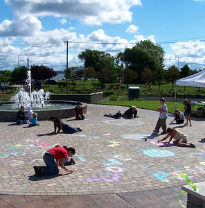 CHALK4PEACE 2007 One of the most beautiful backdrops for CHALK4PEACE... Centennial Park, Geneva, New York 9/15 photo: Chapin Traugott