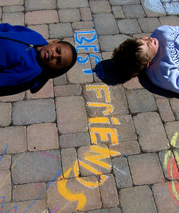 "CHALK4PEACE 2007 ""Best Friends..."" Centennial Park, Geneva, New York 9/15 photo: Chapin Traugott"