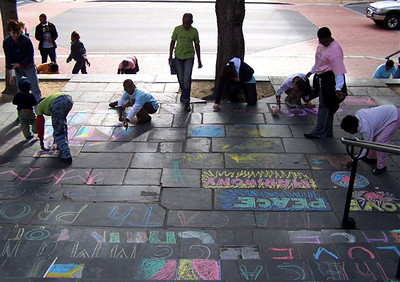 St. George's Cathedral, Cape Town, S. Africa CHALK4PEACE sponsored by The Community ARTS Therapy programme This is CATh programme's second year participating in the event. Photo: