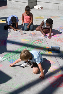 Artists hard at work at Cragmont Elementary School Berkeley, CA photo: Jerry Downs Photography