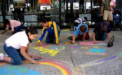 Dr. Martin Luther King, Jr. Memorial Library, Washington, DC The Library has sponsored CHALK4PEACE since 2005  and was the original site in America for CHALK4PEACE. Shown are some Woodlawn Elementary School artists painting the Plaza. photo: Marielle Mariano