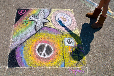 The Shadow Knows... CHALK4PEACE 2008 BEACH SCHOOL Piedmont, CA  Sponsored by P.A.I.N.T.S./Beach Dads   Photo: Jerry Downs