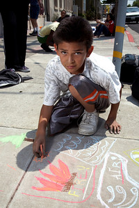 CHALK4PEACE 2008 Destiny Arts Center/N. Oakland Community Charter School, CA The Repainting of the infamous CHALK4PEACE sign, Adeline St./47th, July '08 photo: Barry Robinson Photography
