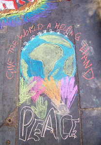 CHALK4PEACE 2008 Cape Town S. Africa  Organized by the COMMUNITY ARTS Therapy programme  St. George's Cathedral, Cape Town  photo: Angela Rackstraw