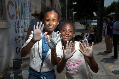 CHALK4PEACE 2008 Destiny Arts Center/N. Oakland Community Charter School, CA The Repainting of the infamous CHALK4PEACE sign, Adeline St./47th, July '08 photo: Barry Robinson Photography C4P Photo Gallery: http://modernarf.smugmug.com/gallery/6199762_QMGDH#398454183_qzf8N