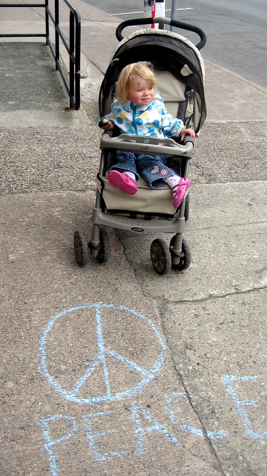 CHALK4PEACE 2008 One of the youngest artists...  Eugene Leger sends us this photo of his daughter chalking it up from St. John's, Newfoundland