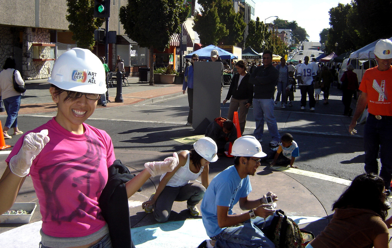 Hard Hats hard at work... CHALK4PEACE, downtown Vallejo, CA sponsored by the ART Department  and the Vallejo Artists Guild. Photo: copyright The ART Department