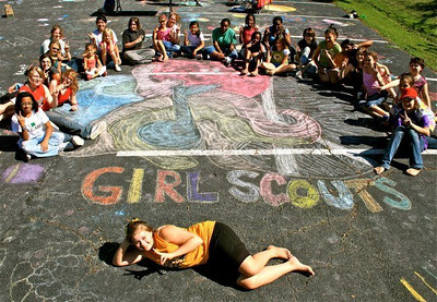 Girl Scout Troop 849- CHALK4PEACE 9/19/09 Wesley United Methodist Church, Alexandria, VA Organizer: Beth Campbell; photographer: Marielle Mariano  http://modernarf.smugmug.com/Art/CHALK4PEACE-2009/CHALK4PEACE-Girl-Scout-849/9729098_RkCnb#658429507_oCjsM