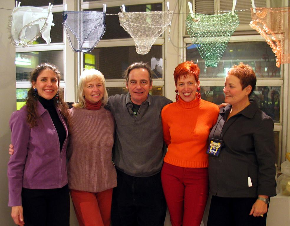 Artomatic 2004 Sindra Arkin, Joyce Zipperer, me, Mary Beth. Ellyn Weiss underneath Joyce's metallic lingerie collection photo: ?