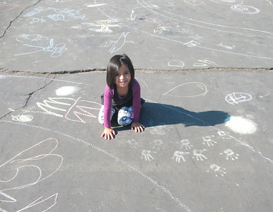 A CHALKSTAR leaving her imprint at the Bijou Community School, South Lake Tahoe, CA September 30th, 2010 Carri Gault, Organizer and Photographer
