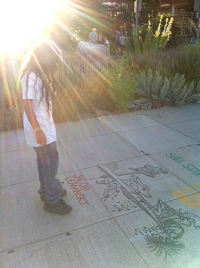 Shining the light...CHALK4PEACE 2010  9/26/10 Boulder Public Library, Boulder, CO Organizer: Carol Heepke Photo: Emily Ebba Reynolds