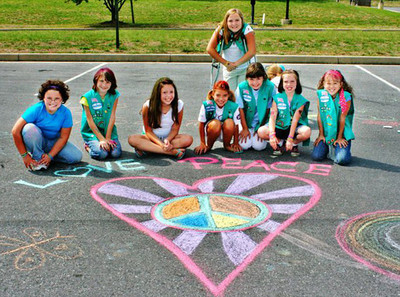 CHALK4PEACE 9/19/10 Girl Scout Troop 40726 event at Martinsburg Mall, Martinsburg, WV Organization and photos by Heather Riker Johnson  http://modernarf.smugmug.com/Art/CHALK4PEACE-2010/CHALK4PEACE-Girl-Scout-Troop/13879413_bTdGM#1018093432_5PTzV