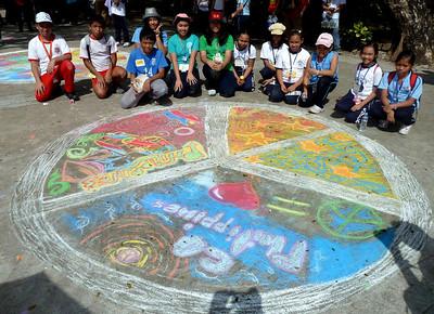 """MQCGS Consortium Cluster V  Schools """"Our Piece 4 Peace"""" Chalk Art Activity  Quezon Memorial Circle Quezon City, Philippines Jan 29, 2011 link: http://modernarf.smugmug.com/Art/CHALK4PEACE-2011/Our-Pieace-4-Peace-Quezon-City/15783495_4QiKD#1183522776_idsXY"""