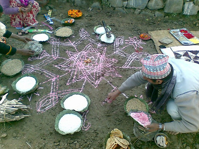Chalk for Peace at Everything Organic Nursery,  Patalekhet, Nepal (well -- actually Rice Powder for Peace)... photo: Jim Danisch