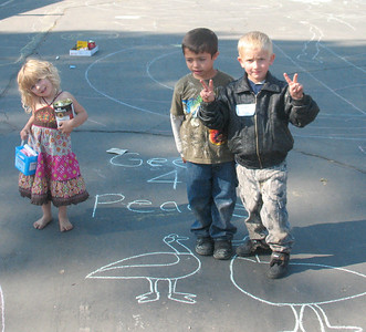 All the Animals were invited! Geese 4 Peace...they showed up! Bijou Community School, South Lake Tahoe, CA September 30th, 2010 Carri Gault, Organizer and Photographer  http://modernarf.smugmug.com/Art/CHALK4PEACE-2010/CHALK4PEACE-2010-Bijou/14513610_q3RxV#1077900961_9btxz