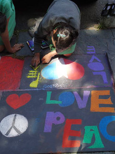 CHALK4PEACE 2010 St. George's Cathedral, Cape Town S. Africa  photo: Angela Rackstraw