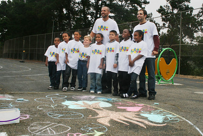 CHALK4PEACE 2010 9/17/10 Jason Kidd with his fans. Mr Kidd has pledged extremely generous support for the school's programs. Northern Light School, Oakland, CA photo: Jonothan Dumas
