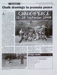 Article: Grocott's Mail, S. Africa 26/9/08 Chalk drawings to Promote Peace CHALK4PEACE- Grahamstown, S. Africa Amasango School at the Cathedral of George & Michael photojournalist: Stephen Lang