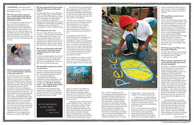 "Whole Person Calendar December 2010 ""CHALKSTAR: John Aaron and CHALK4PEACE"" Writer: Sharon Hall  This article was the Cover story for this issue."