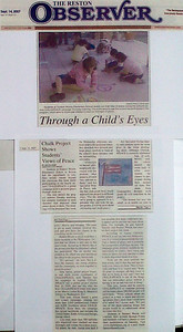 Reston Observer, Northern Virginia Sept. 14, 2007 Article: Through a Child's Eyes Writer: Leah Kosin School: Hunter's Woods E.S.