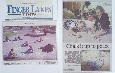 "Finger Lakes Times, Upstate New York ""Peacework"" Sept 17, 2007 CHALK4PEACE Community Project location: Geneva, N.Y. photo: Spencer Tulis  Pasadena Star News, Pasadena. CA ""Chalk it up to peace "" Oct 2, 2007 Gooden School, Sierra Madre, CA photos: Leo Jarzomb"