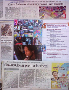"Italian Newspaper Articles Oct 2010 Corriere Adriatico-Civitanova: Notizie Flash ""Una piazza colorata dai simbolidi pace"" & ""Clown&Clown premia Iacchetti"" il Resto del Carlino- Macerata Provinicia: Clown &Clown chiude il sipario con Enzo Iacchetti Clown & Clown 2010 brochure featuring CHALK4PEACE ""Un Gessetto per la Pace"" 2 Oct. 2010"