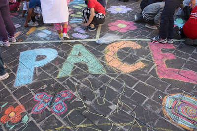 CHALK4PEACE at the Clown & Clown Festival, Monte San Giusto, Italy photo: Gabo Claun 01/10/11