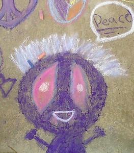"""""""Mister Peace"""" CHALK4PEACE 2011  Gooden School Sept. 22 Photo: John Aaron"""