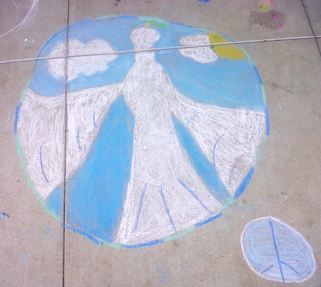 A Dove of Peace as big as the world... CHALK4PEACE 2011  Gooden School Sept. 22 Photo: John Aaron