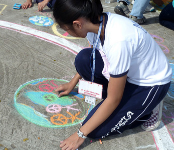 """MQCGS Consortium Cluster V  Schools """"Our Piece 4 Peace"""" Chalk Art Activity  Quezon Memorial Circle Quezon City Philippines Jan 29, 2011"""
